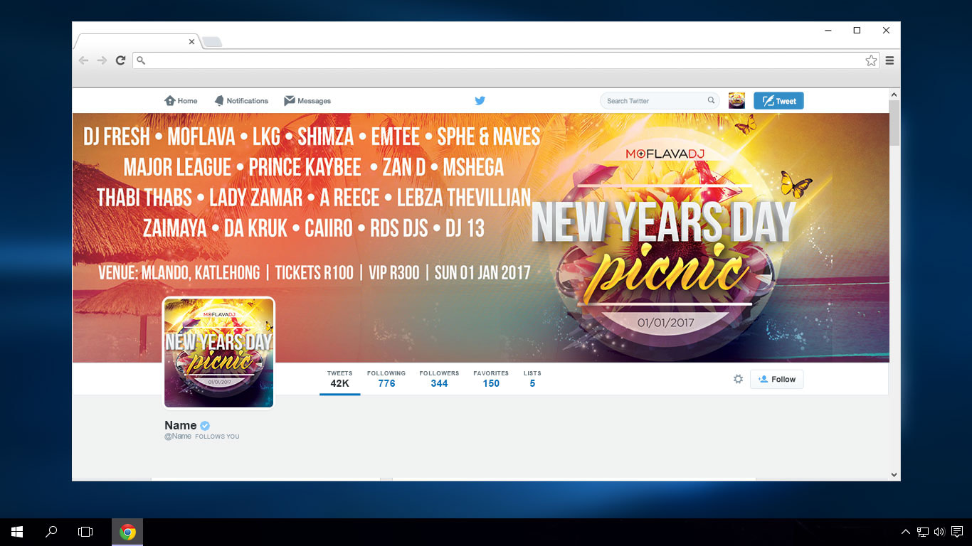 New Years Day Picnic '17 Twitter Cover | KEMOSO