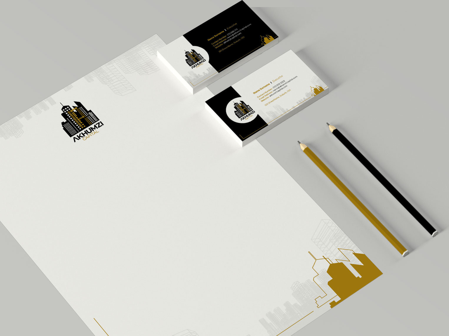 Letterhead and business cards for Akhumzi Capital | KEMOSO