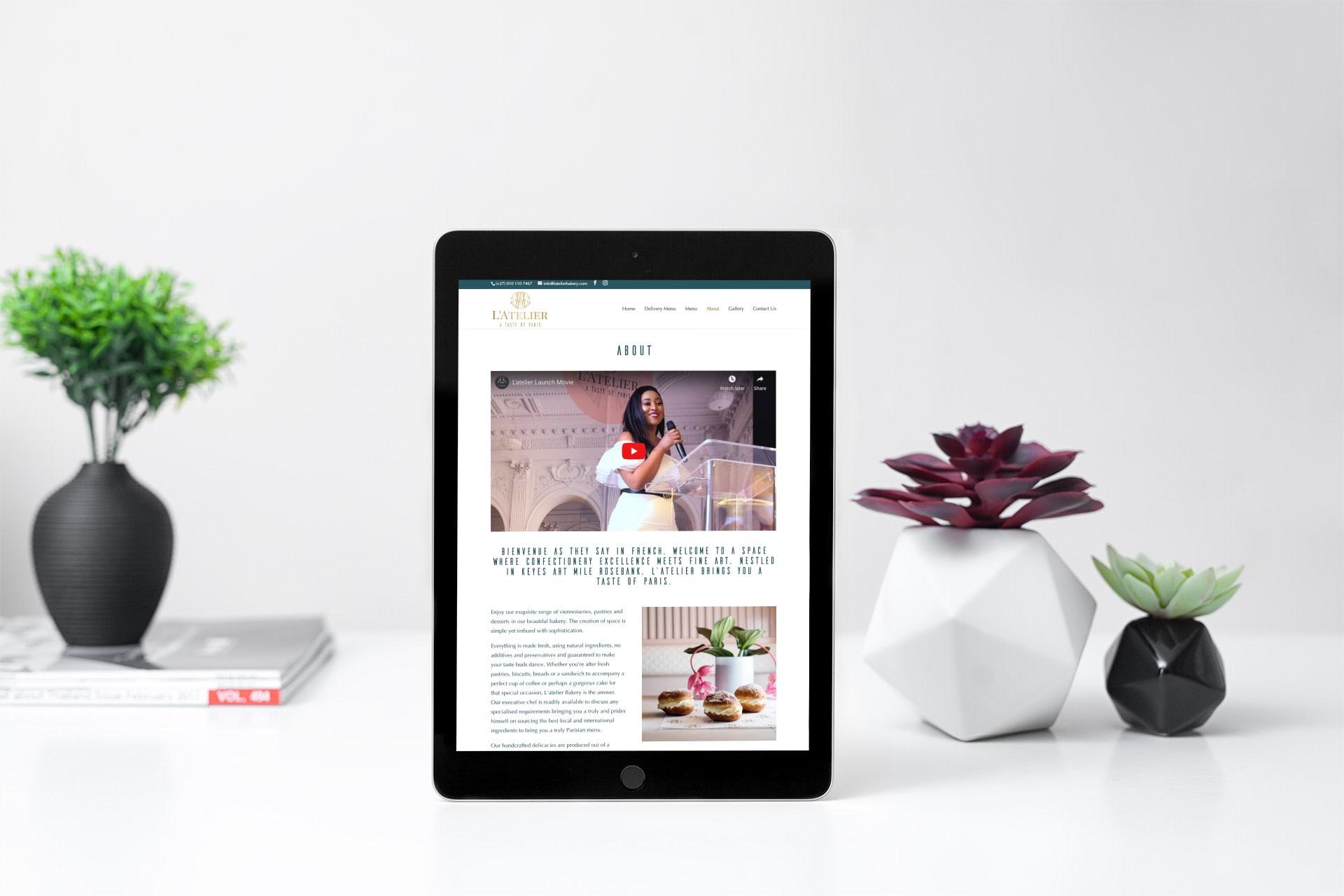 Latelier Bakery Website (Tablet)   KEMOSO