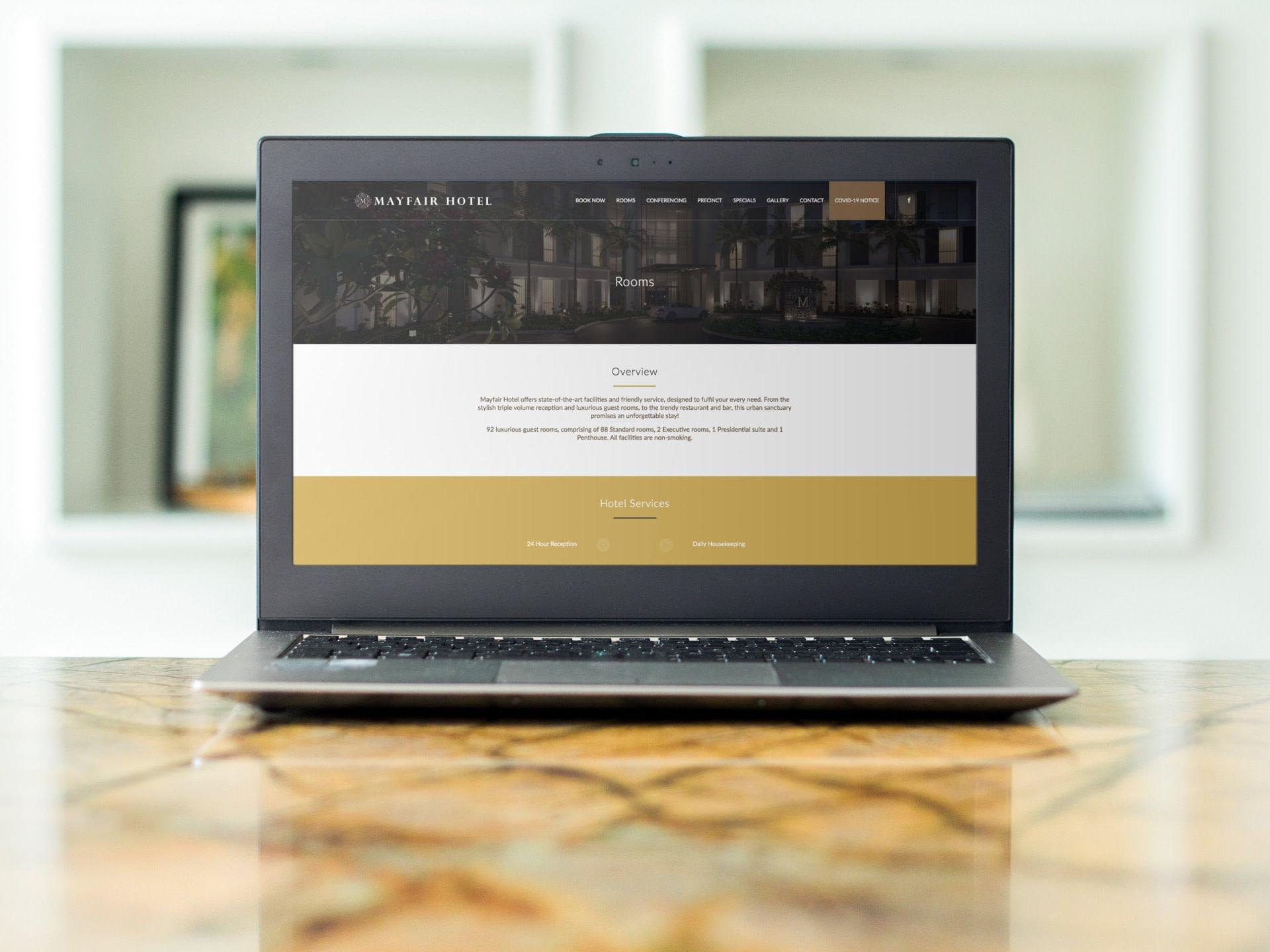 Mayfair Hotel Website (Laptop)   KEMOSO