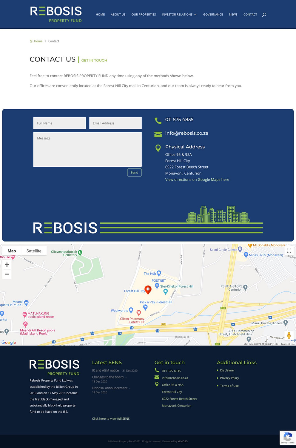 Rebosis Property Fund (Contact Page) | KEMOSO