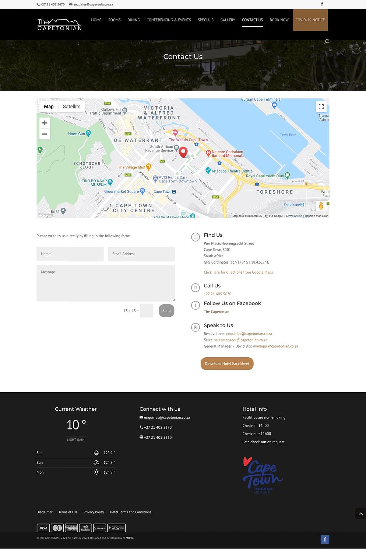 Capetonian Website (Contact Page)   KEMOSO